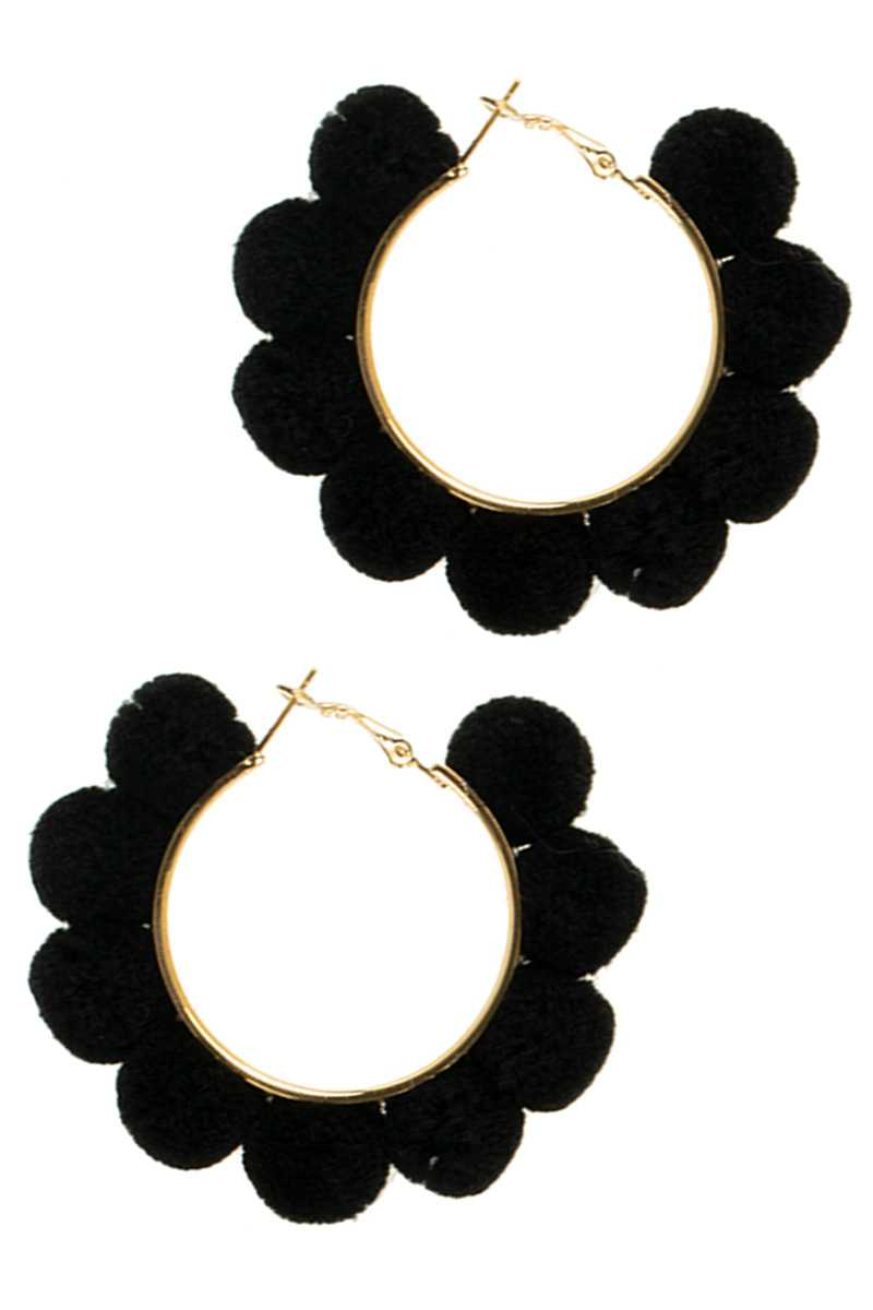 Pom Pom Wrapped Hoop Earring