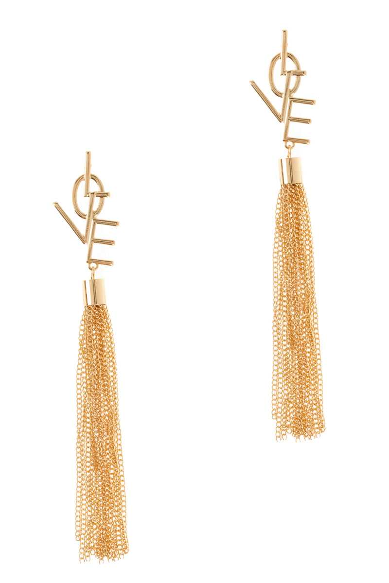 LOVE Word with Chain Fringe Drop Stud Earring