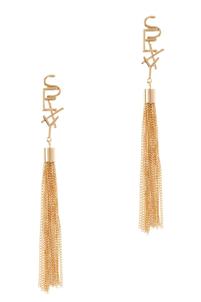 SEXY Word with Chain Fringe Drop Stud Earring