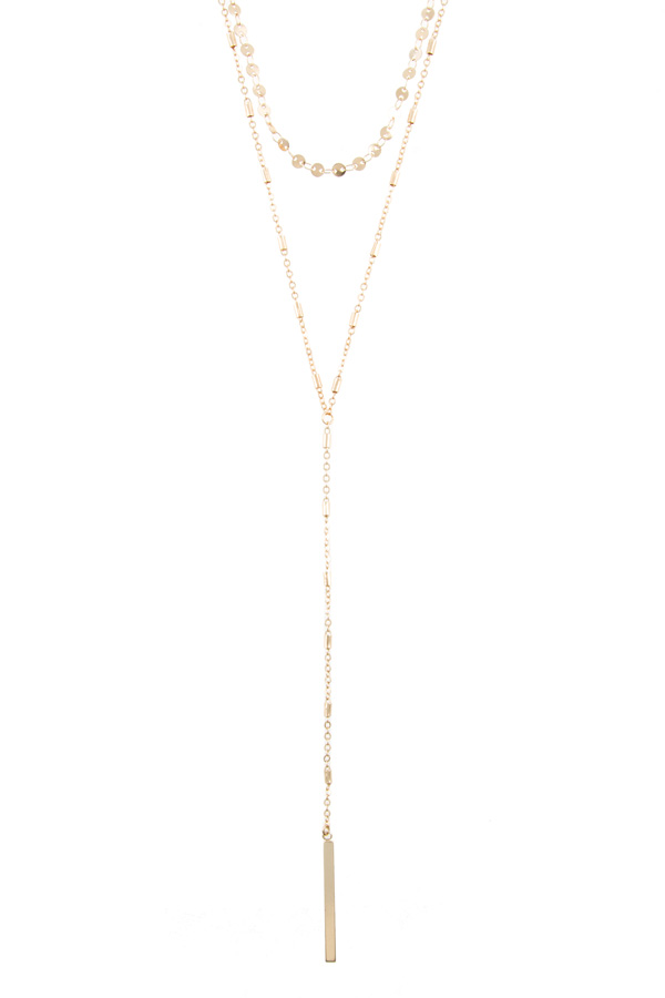 Metal bar lariat necklace