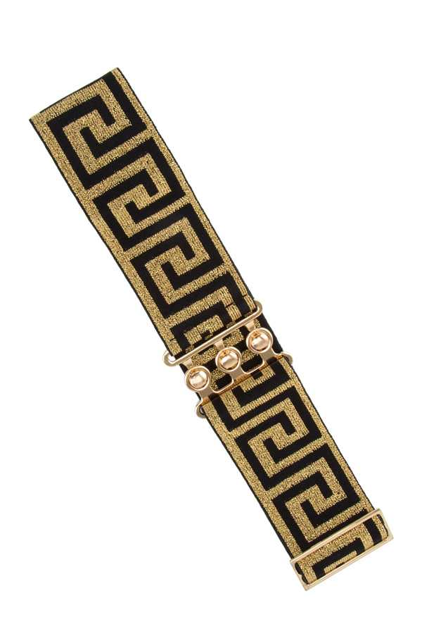 Greek Pattern with Metal Clasp Closure Elastic Belt