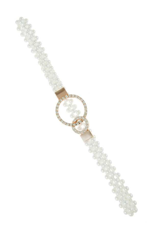 Double O Buckle Pearl Stretchy Belt