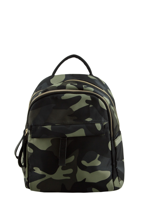 Camouflage Front Covered Pocket Backpack
