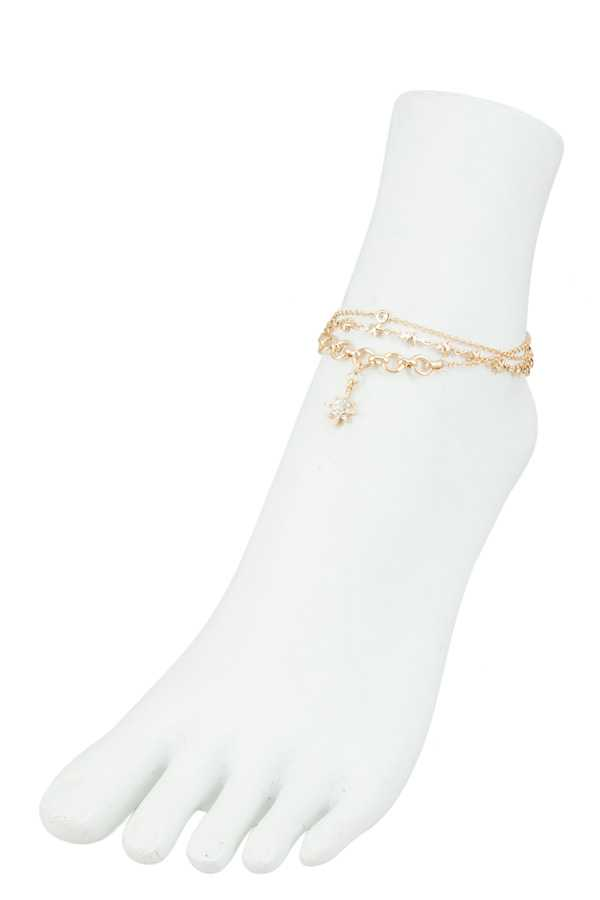 Stars with Light Burst Charm Anklet