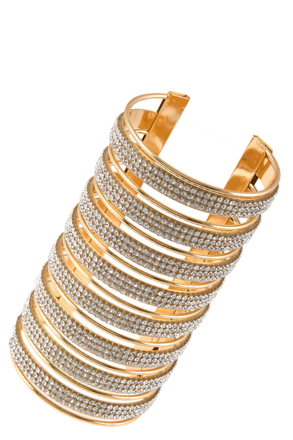Crystal pave caged metal cuff bracelet