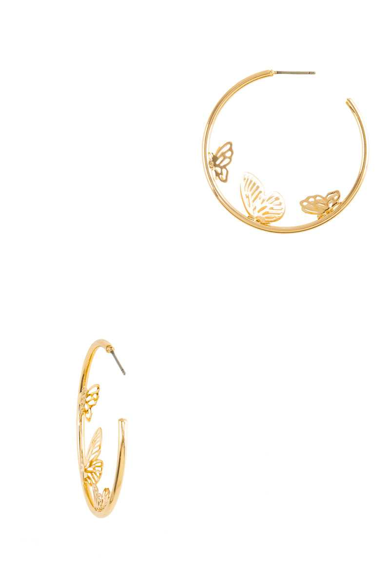 40mm Butterfly Attached Open Hoop Earring