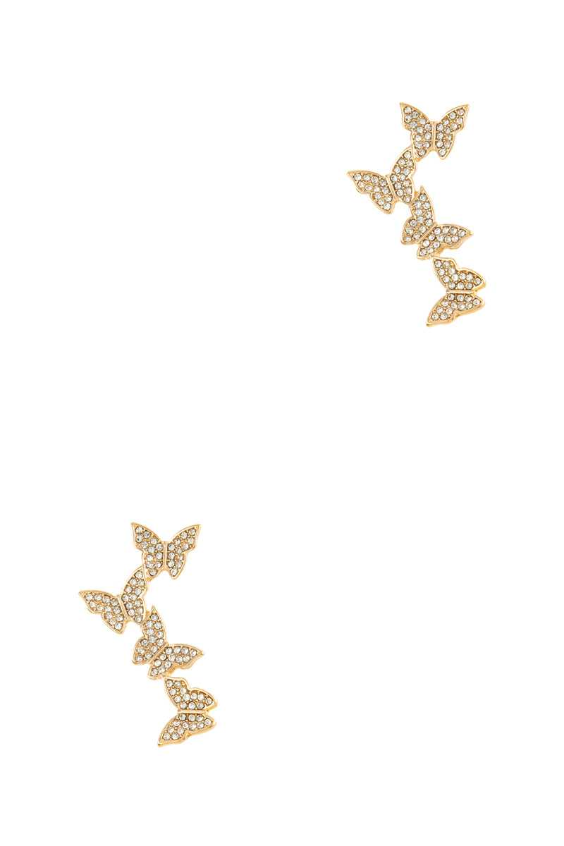 Crystal Butterfly Drop Stud Earring