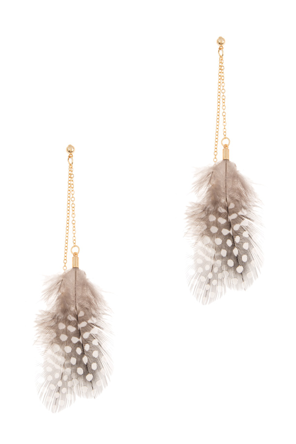 Feather with chain drop earrings