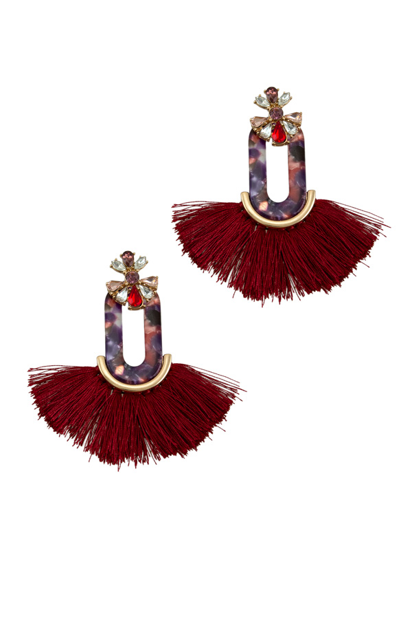 Flower Oval Tassel Earring
