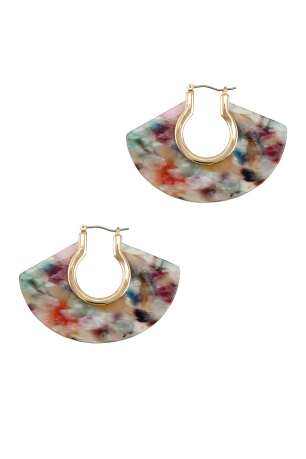 Fan Shaped Marbled Earring