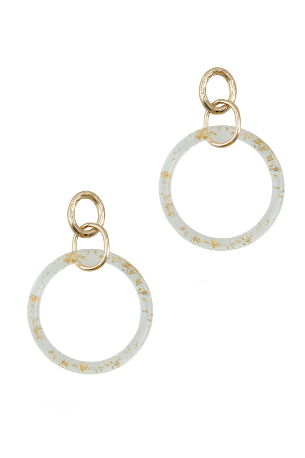Gold Flake Circle Dangle Lucite Earring
