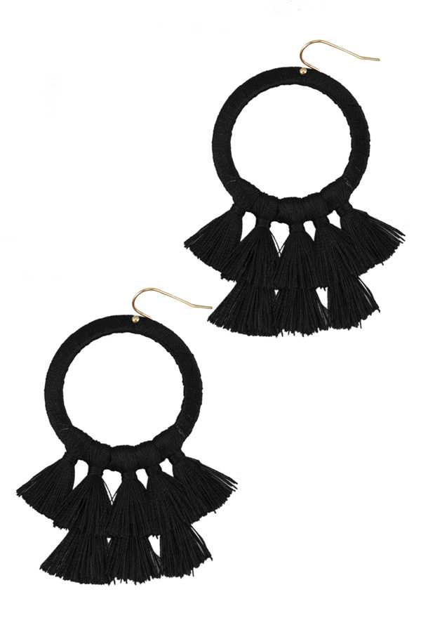 Thread Wrapping Circle Earring with Double Line Tassel Drop