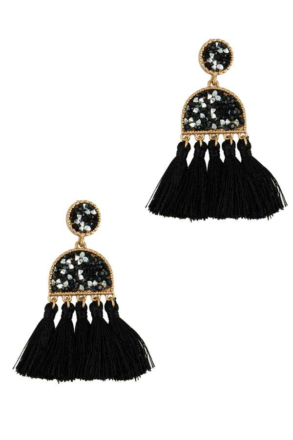Tassel Drop Earring with Sparkle Decorated
