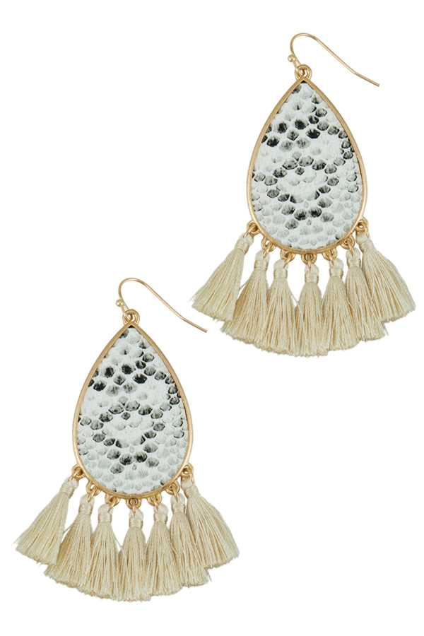 Snake Print Teardrop Earring with Tassel Drop