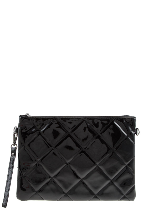 Shiny enamel quilted clutch