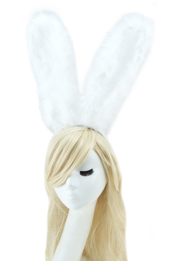 Lace bunny long ears with feather headband