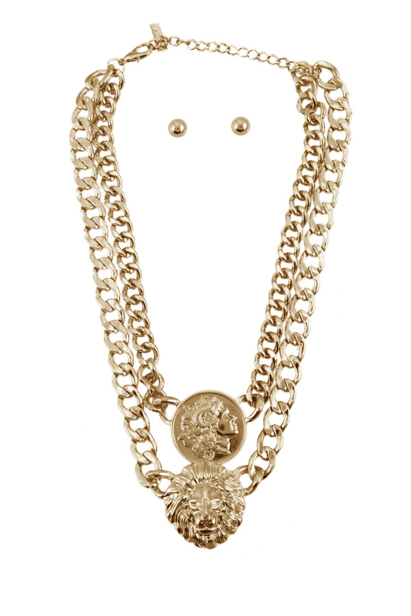 Lion Head Coin Double Chain Necklace