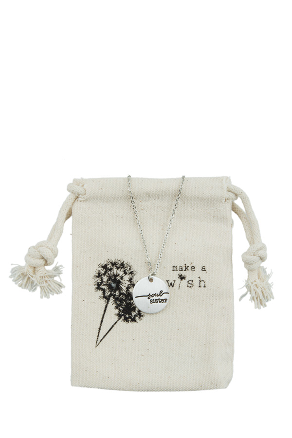 'soul sister' Etched Charm Necklace with Small Pouch