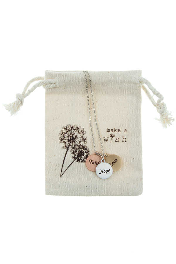 """FAITH HOPE LOVE"" etched charm necklace with small POUCH"
