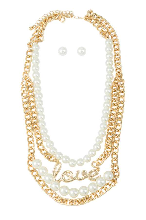 LOVE Letter Charm Pearl and Chain Layered Necklace