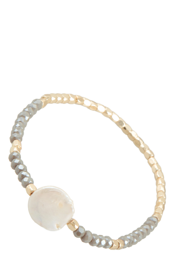 78976bf3d4a4 Coin Pearl with Glass Body Stretch Bracelet