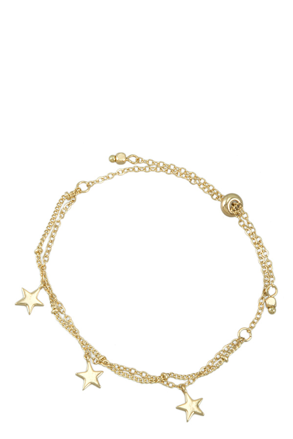 Double Layered Chain Bracelet with Three Star Charm