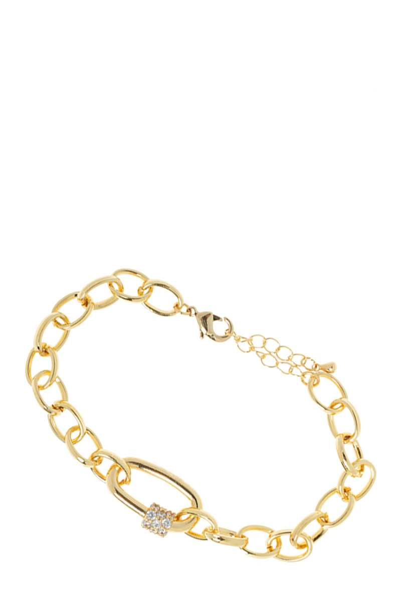 Linked Chain Bracelet with Pave Screw Lock