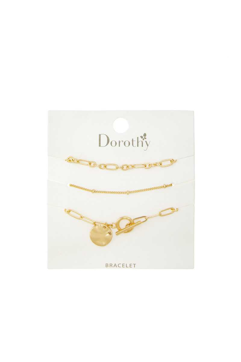 Figaro Chain and Toggle with Textured Disc Charm Bracelet Set