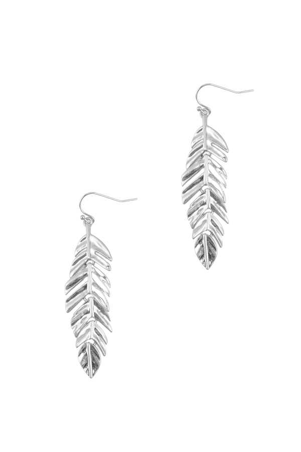 Metal Leaf Fishhook Earring with Wave Texture