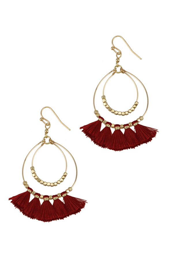 Two Layered Round Wire with Tassel Earring