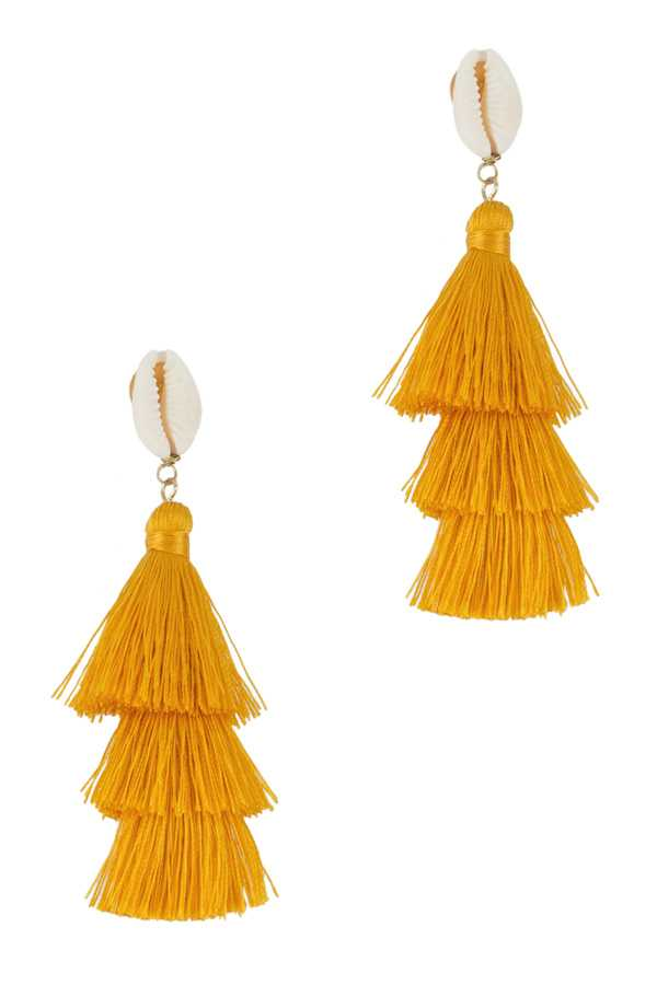 White Cowrie Shell Post Earring with 3 Tiered Tassel