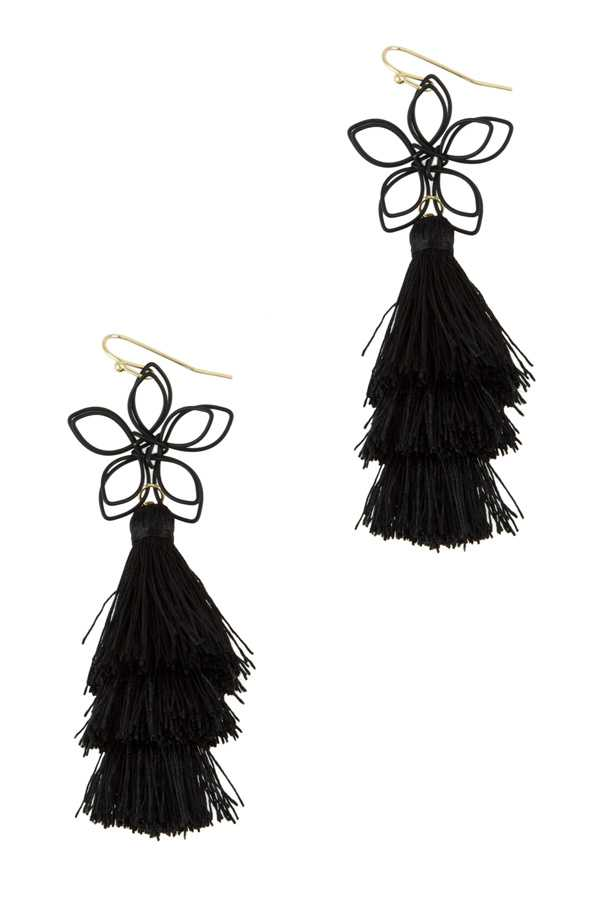Wire Flower with 3 Tiered Tassel Hook Earring