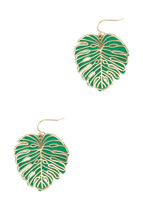Metal Palm Leaf Silhouette Earring with Silicone Coat Back