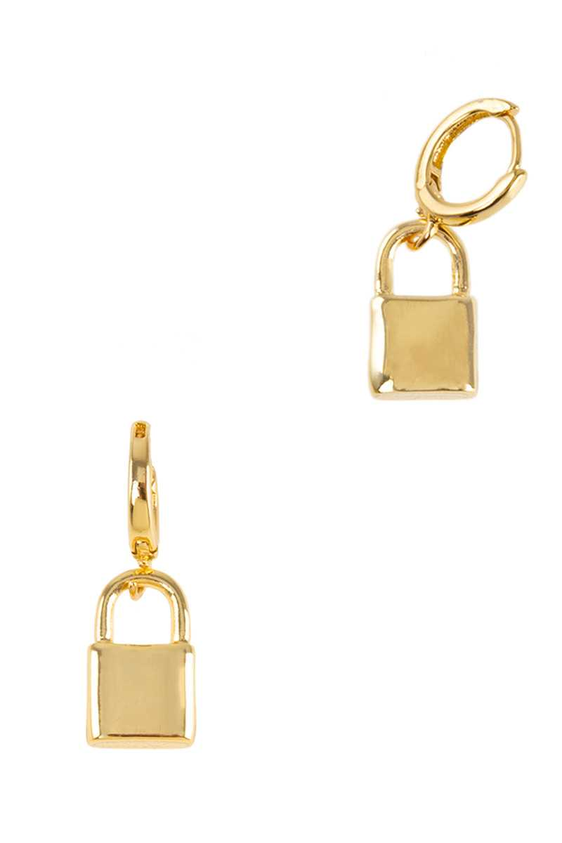 Little Huggie Earring with Baby Padlock Charm