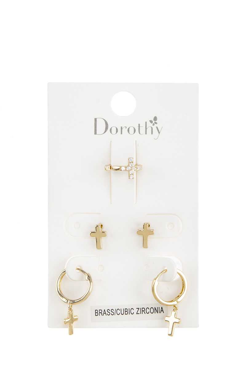 Cross Cuff and Huggie and Stud Earring Set