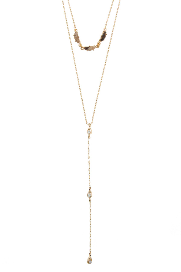 Layered chain with stone and round metal charm necklace