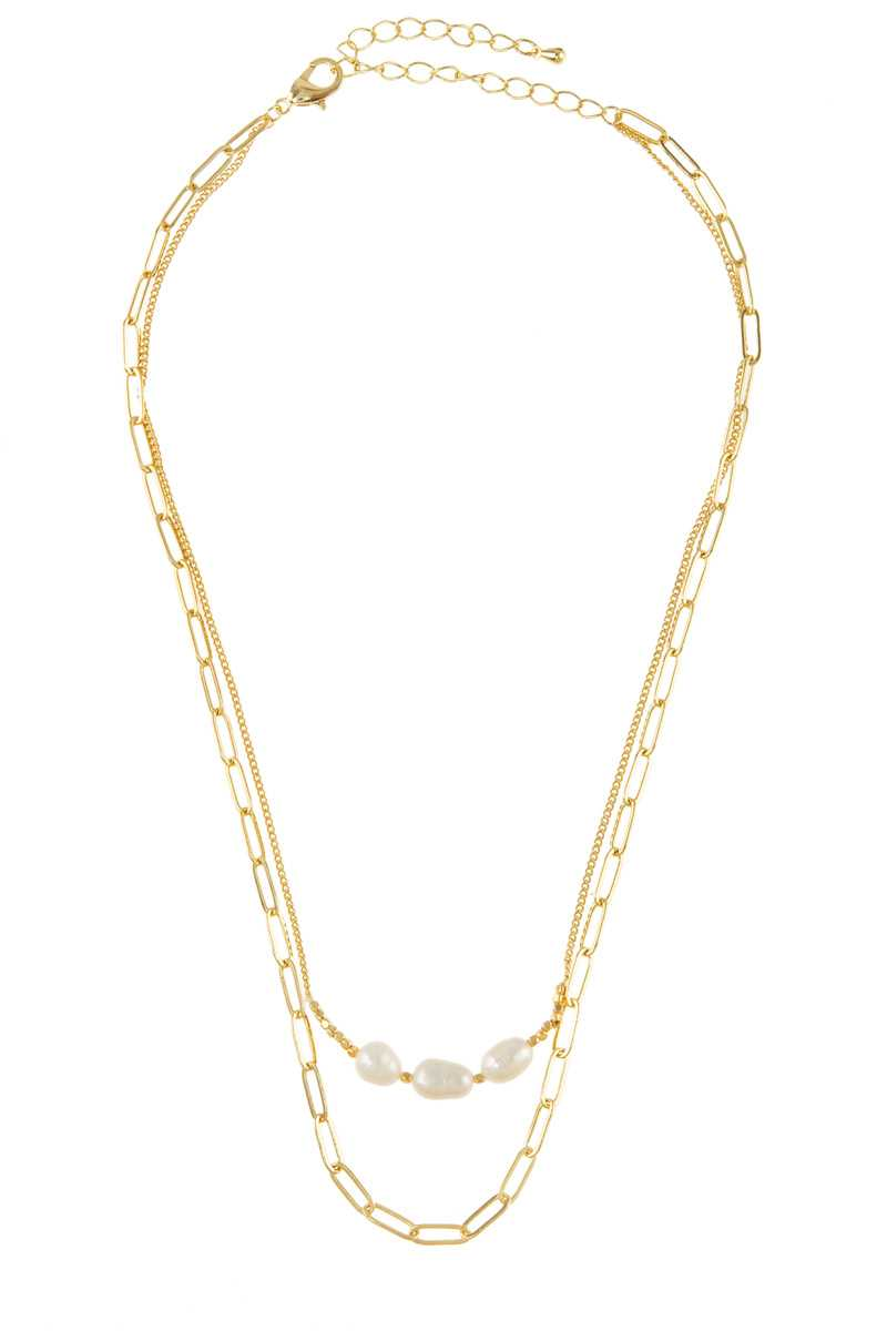 Three Small Water Fresh Pearl Charm Chain Necklace