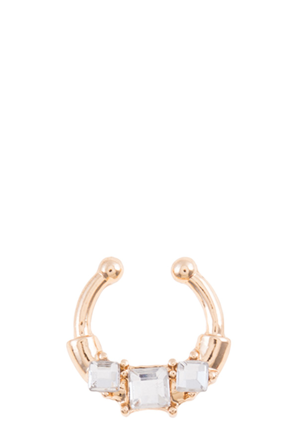 Square crystal faux nose ring