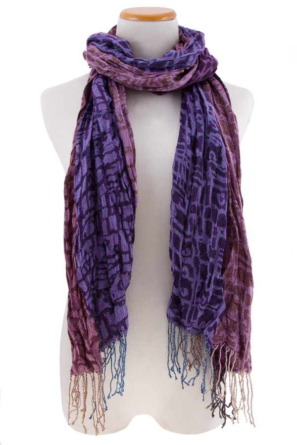 Crumpled with fringe scarf