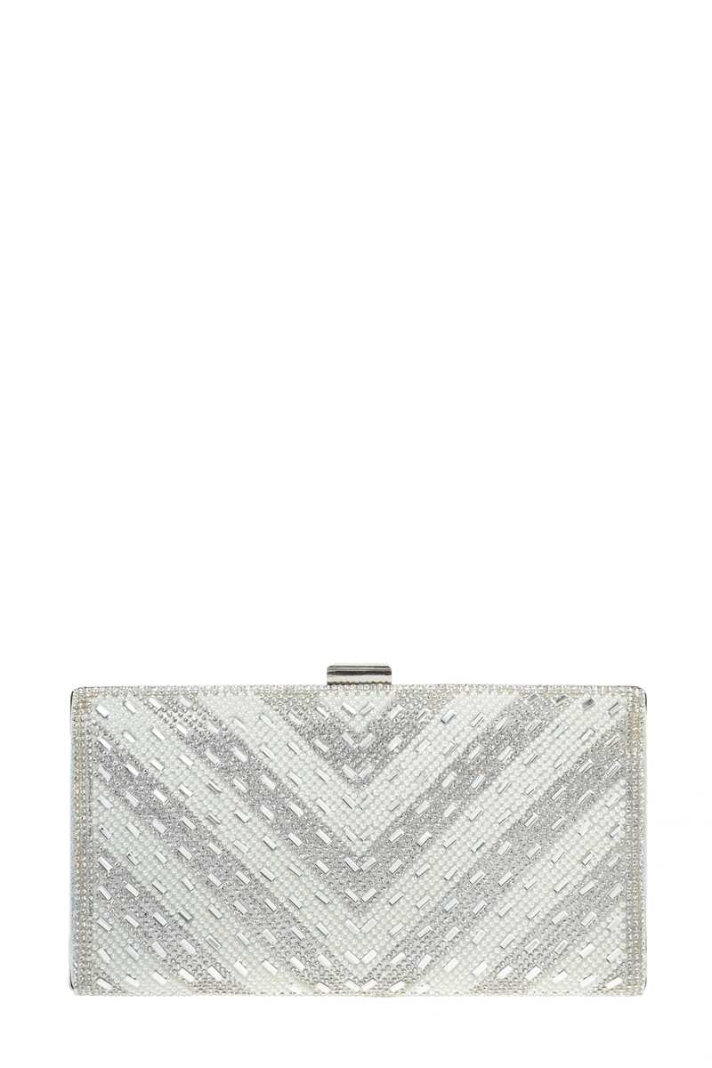 Chevron Pearl and Stone Evening Clutch