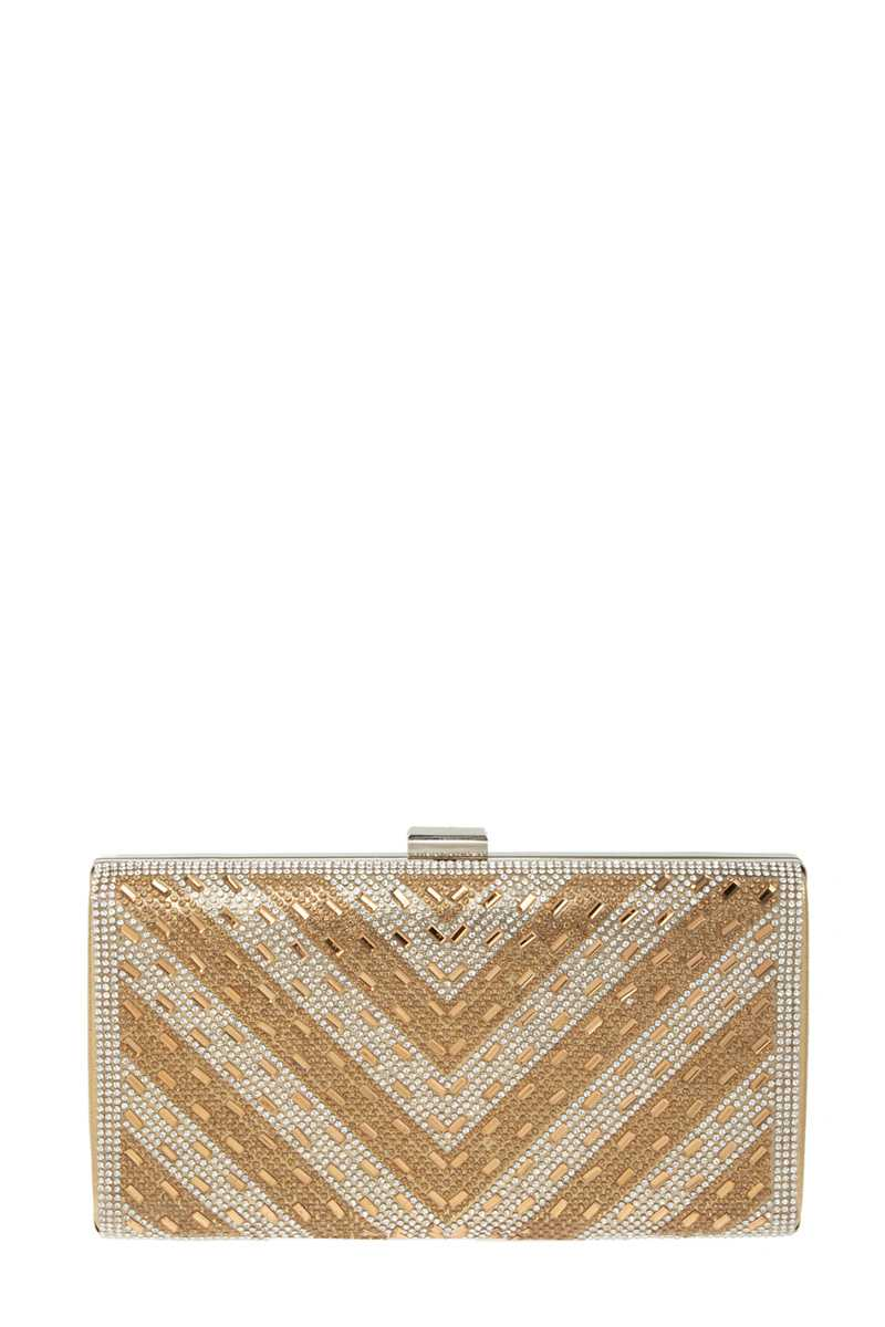 Rhinestone Embedded Chevron Evening Clutch