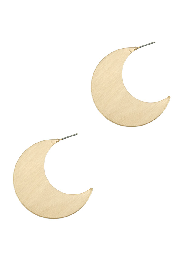 40mm Brush Metal Crescent Moon Stud Earring