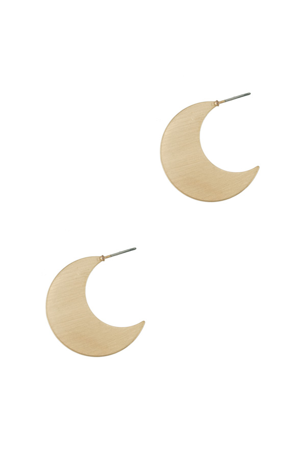 30mm Brush Metal Crescent Moon Stud Earring