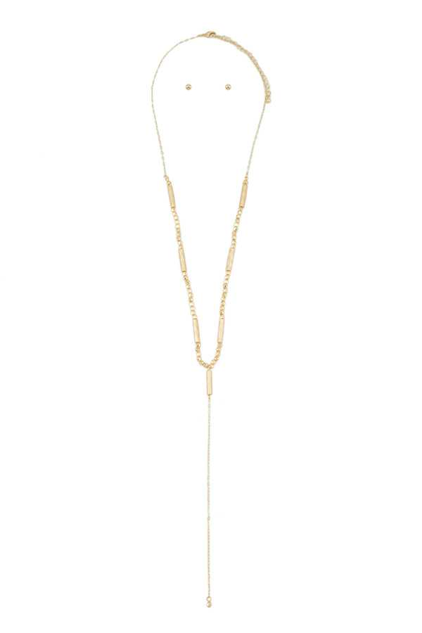 Hammered Metal Bar and Beads Lariat Necklace