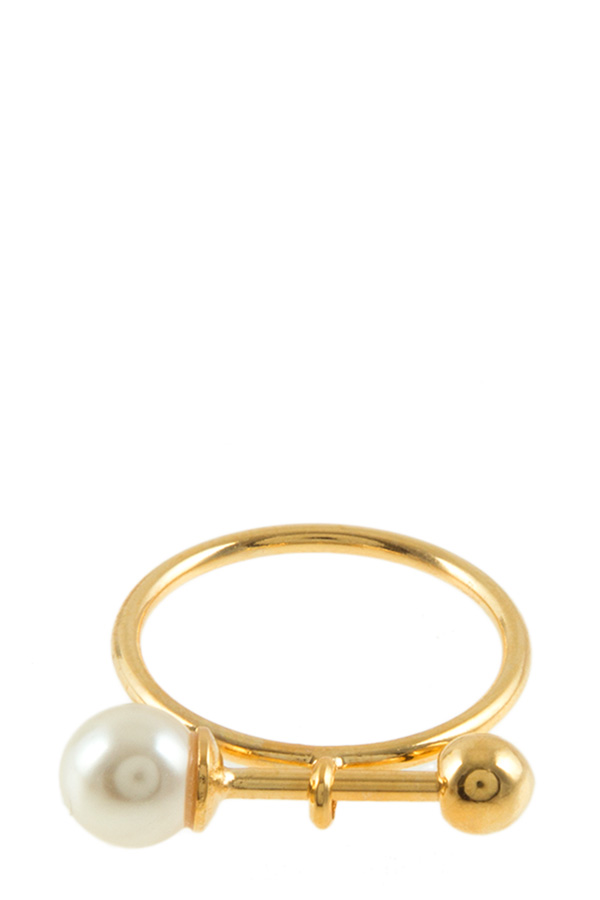 PEARL BARBELL CHARM RING