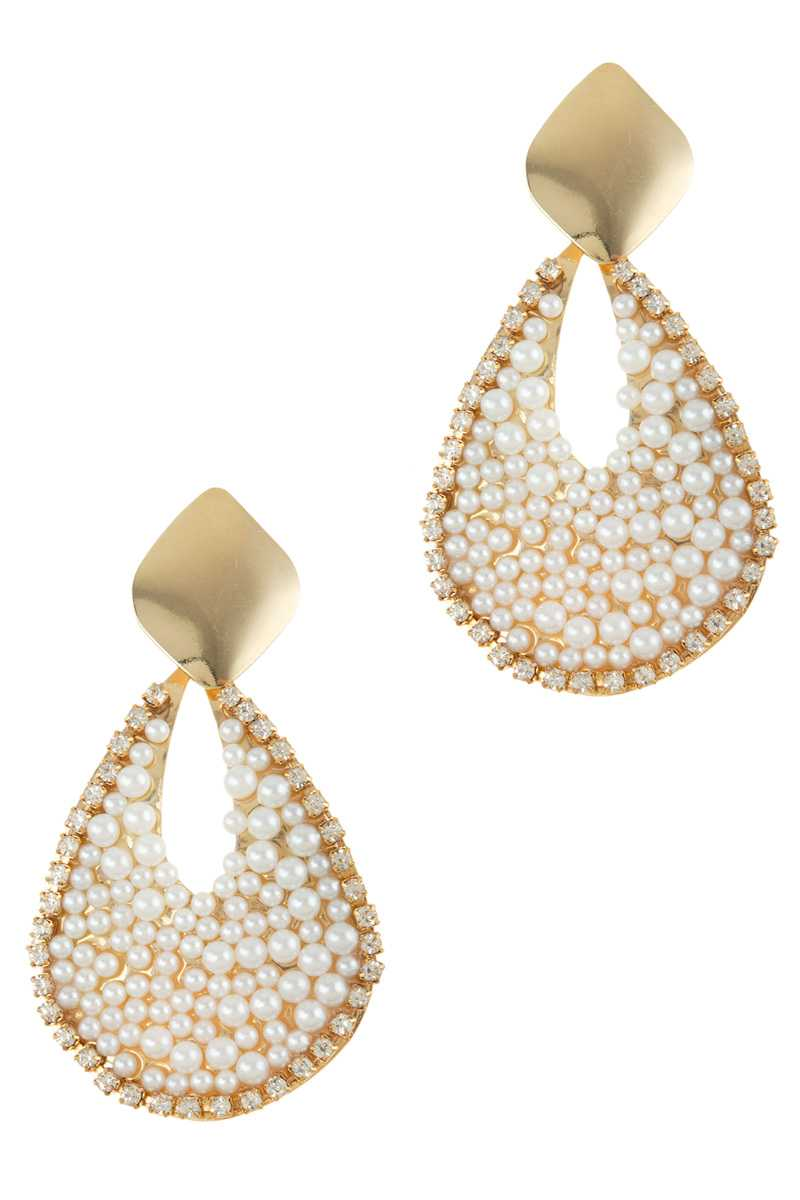 Pearl and Stone Pave Teardrop Dangle Stud Earring