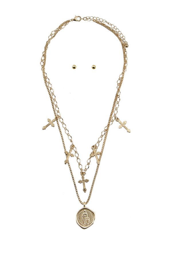 Chain Layered with Cross and Coin Charm Necklace