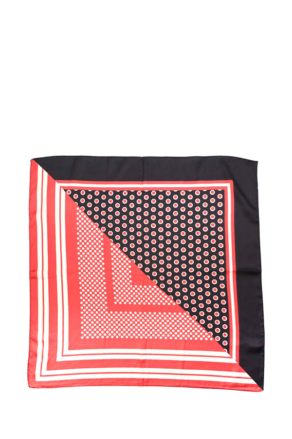 Diagonal Split Mixed Dotted Pattern Skinny Scarf