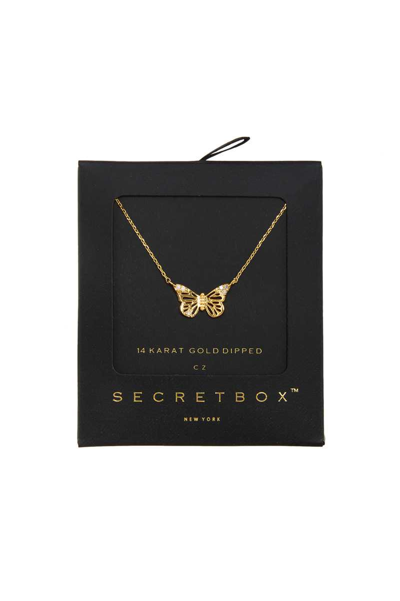 Gold Dipped Cubic Butterfly Necklace