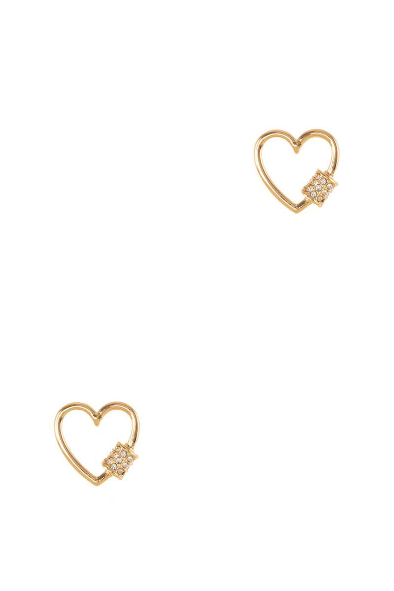 Heart Stud Earring with Stone Accent